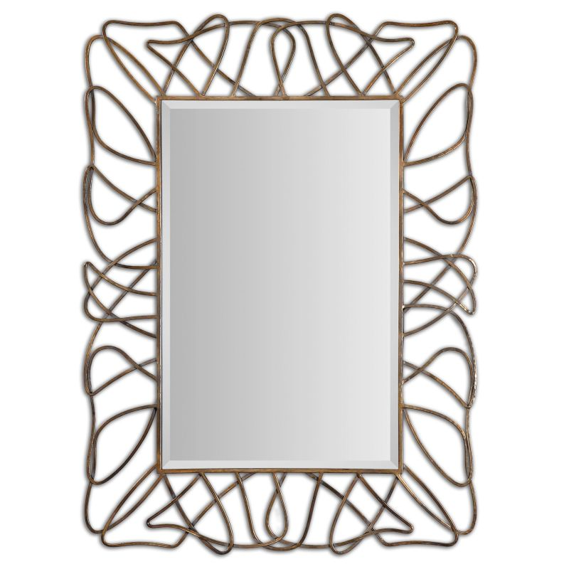 Uttermost 12878 Halsey Metal Wisp Mirror Antiqued Gold Plated with