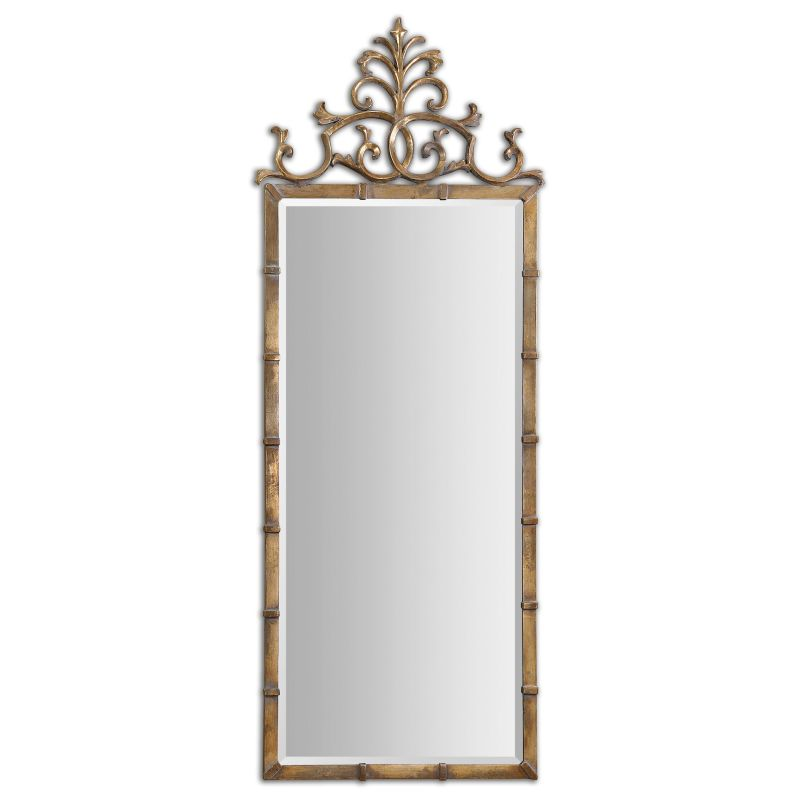 Uttermost 12884 Vittoria Metal Crowned Mirror Antiqued Gold Plated