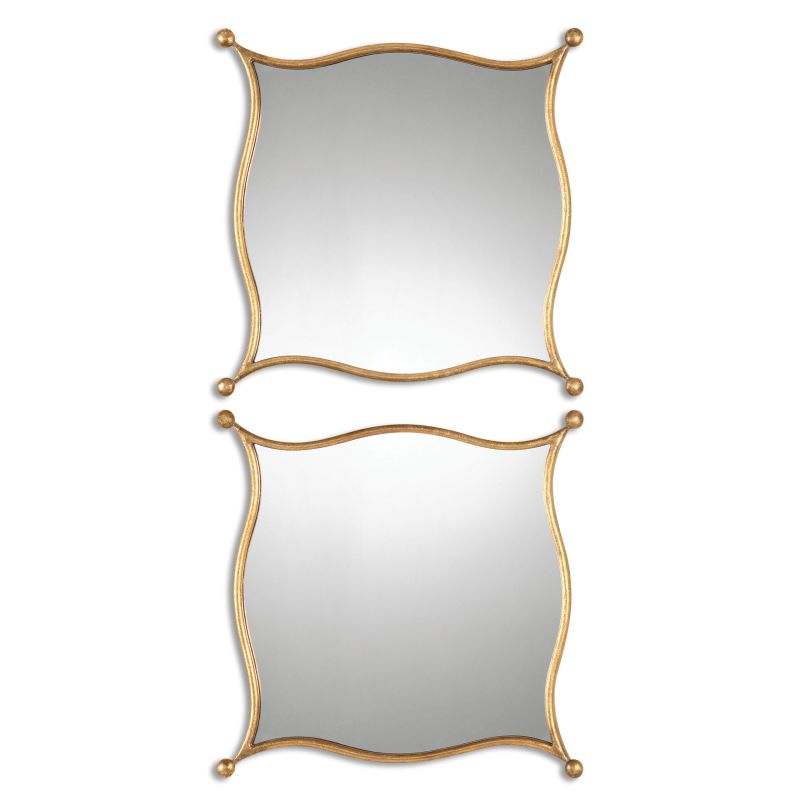 Uttermost 12902 Sibley Wall Mirror - 2 Piece Set Lightly Antiqued Gold