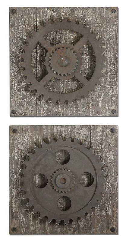 Uttermost 13828 Rustic Gears Wall Art Set of 2 Rust Bronze Home Decor