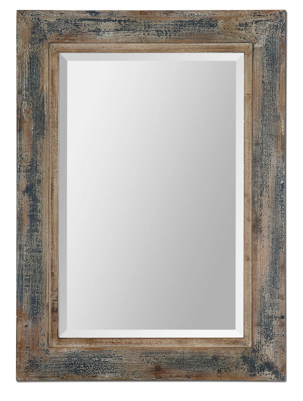 Uttermost 13829 Bozeman Distressed Blue Mirror Heavily Distressed