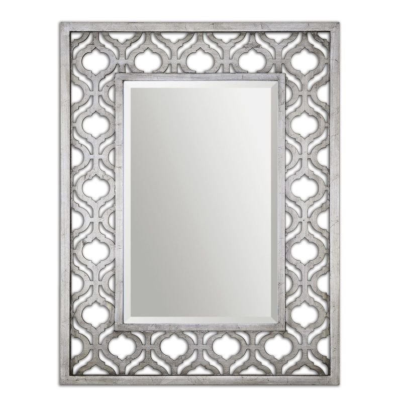 Uttermost 13863 Sorbolo Metal Patterned Mirror Antiqued Silver Leaf