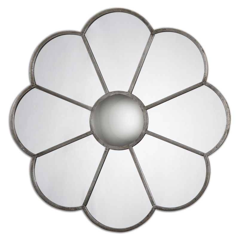 Uttermost 13867 Duryea Metal Petal Rounded Mirror Antiqued Silver Leaf
