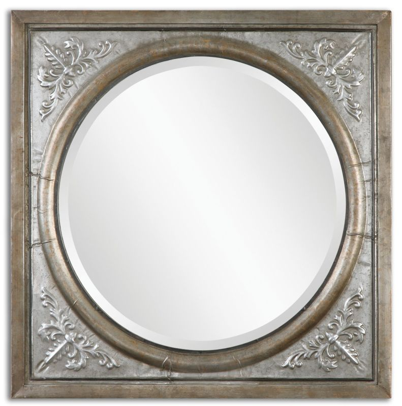 Uttermost 13874 Ireneus Framed Beveled Circular Mirror Antiqued
