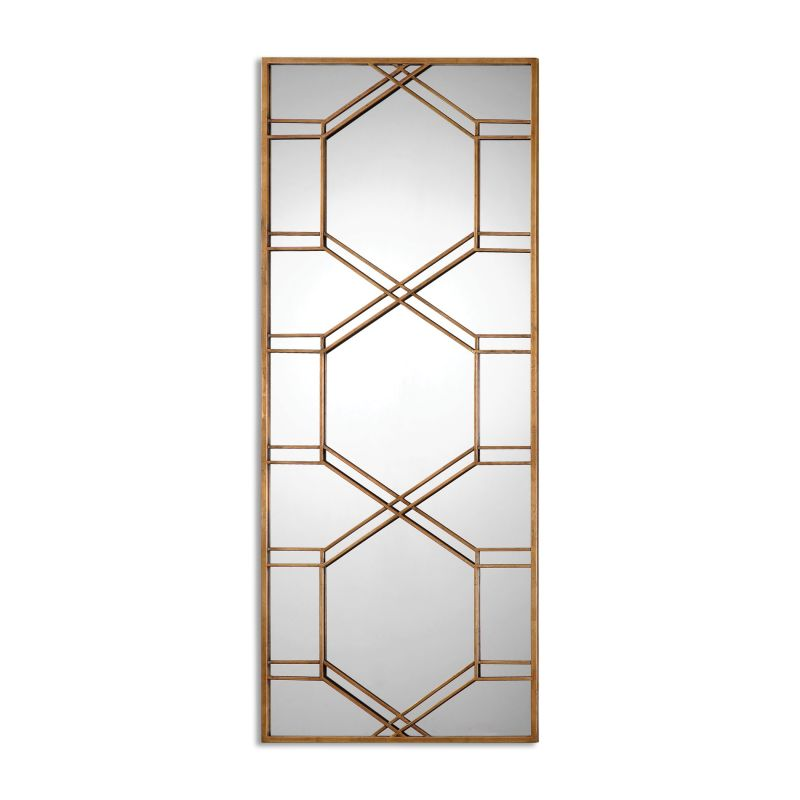 """Uttermost 13922 Kennis 70"""" x 29"""" Wall Mirror Heavily Antiqued Gold"""