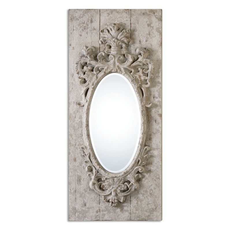 "Uttermost 13927 Guardia 48"" x 21"" Wall Mirror Distressed Gray-Ivory"