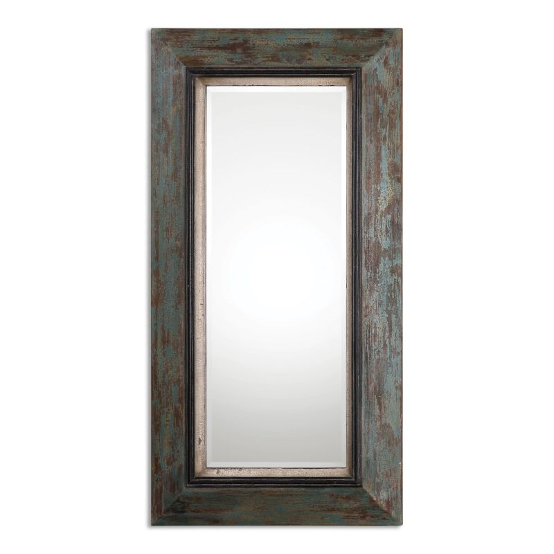 """Uttermost 13930 Bronwen 62"""" x 32"""" Wall Mirror Heavily Distressed Teal"""
