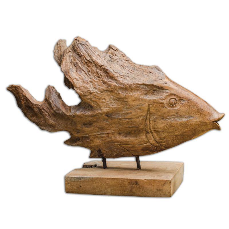 Uttermost 17084 Teak Carved Wooden Fish Sculpture Natural Teak Wood