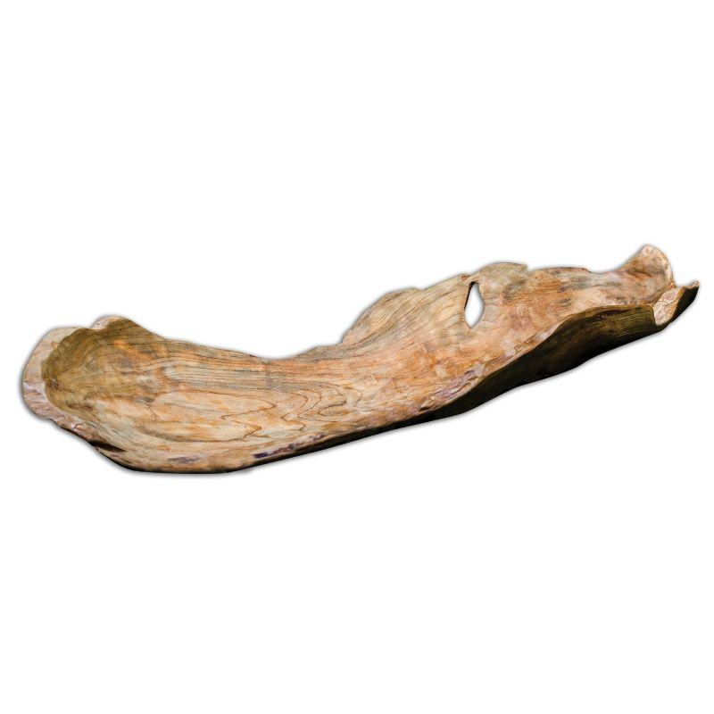 Uttermost 17085 Teak Leaf Wooden Bowl Natural Teak Wood Home Decor