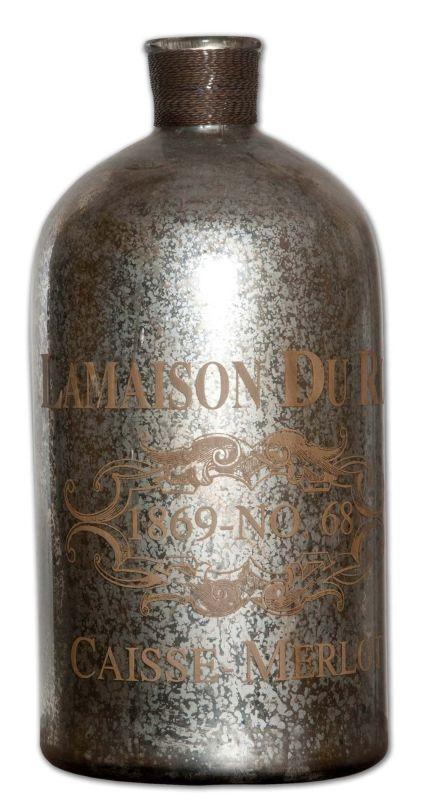 Uttermost 19752 Lamaison Large Mercury Glass Bottle Silver Mercury