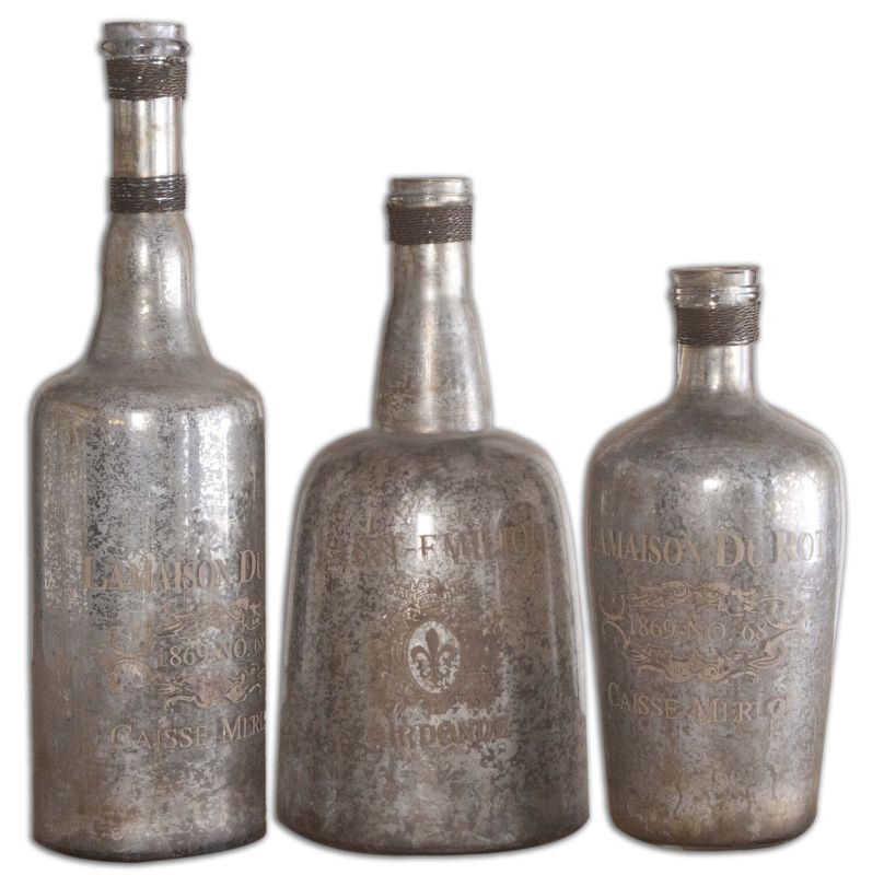 Uttermost 19753 Lamaison Mercury Glass Bottles Set of Three Silver