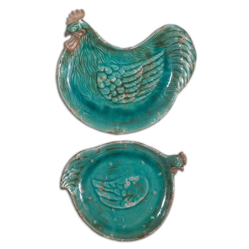 Uttermost 19818 Galiana Ceramic Chicken Decorative Trays Set of Two