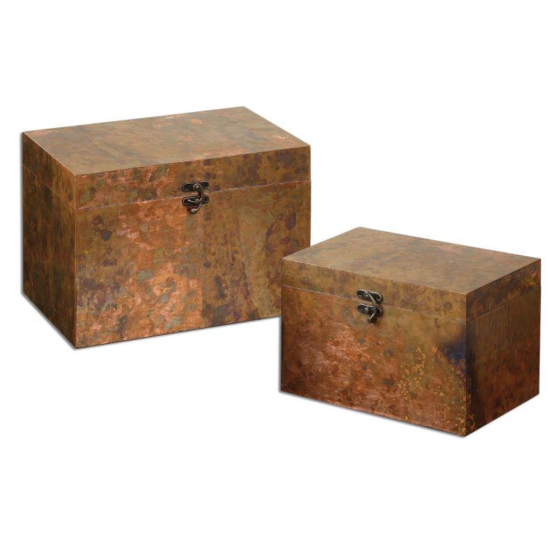 Uttermost 19827 Ambrosia Oxidized Copper Boxes - Set of 2 Copper Home