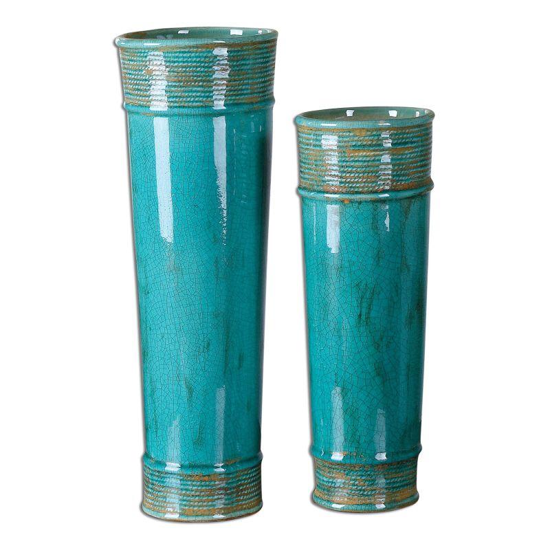 Uttermost 19835 Thane Crackled Ceramic Vases - Set of 2 Green Ceramic