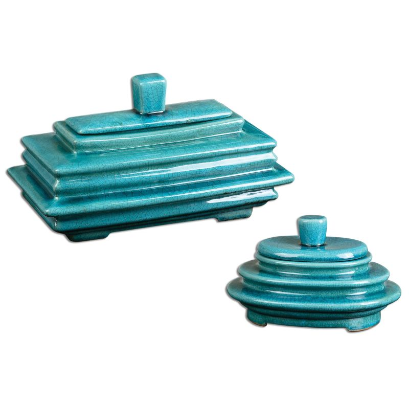Uttermost 19836 Indra Ceramic Canisters - Set of 2 Blue Ceramic Home