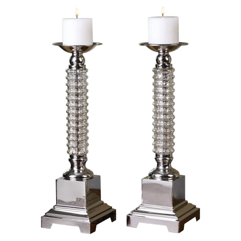Uttermost 19840 Ardex Polished Nickel Candle Holders - White Candles