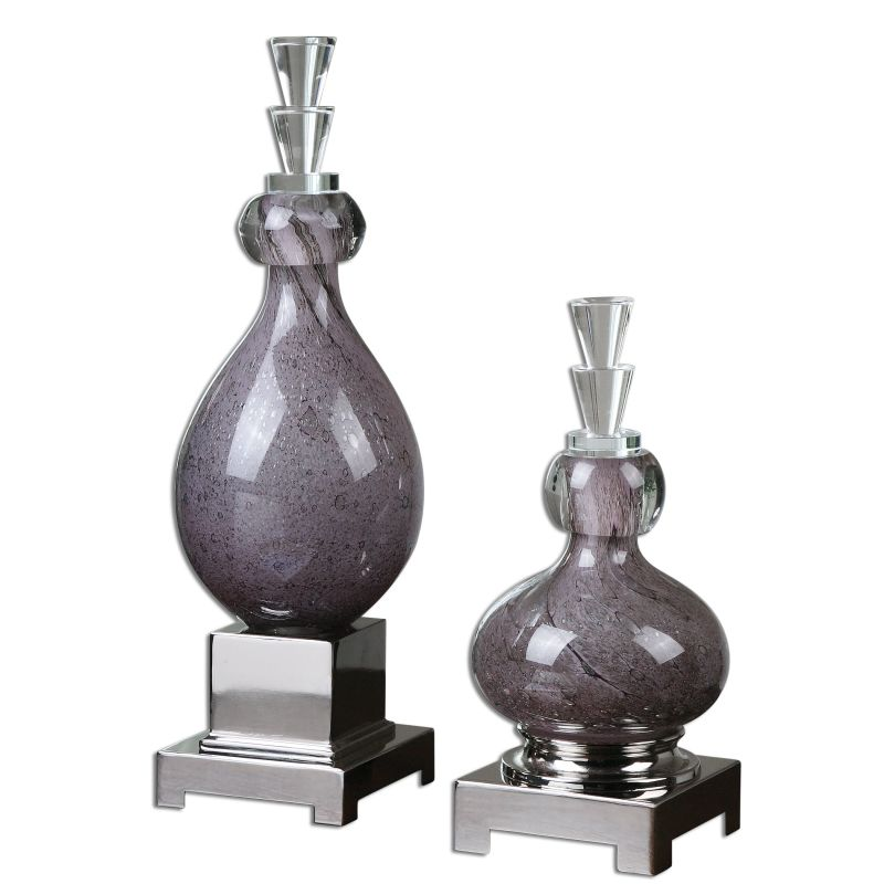 Uttermost 19842 Charoite Deep Purple Canisters - Set of 2 Purple Glass