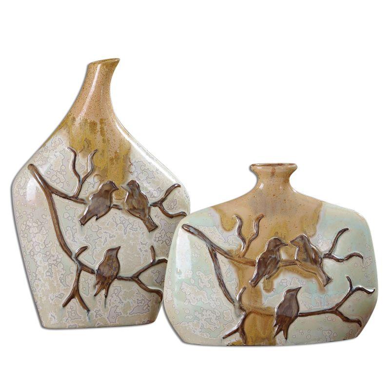 Uttermost 19843 Pajaro Ceramic Vases - Set of 2 White Ceramic Home