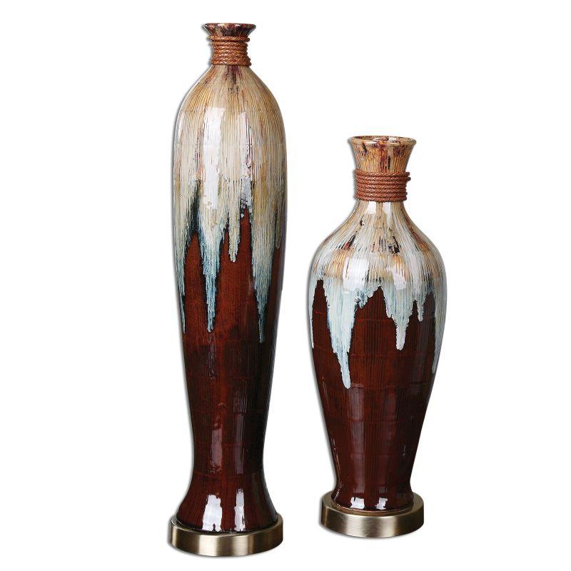 Uttermost 19844 Aegis Ceramic Vases - Set of 2 Black Ceramic Home