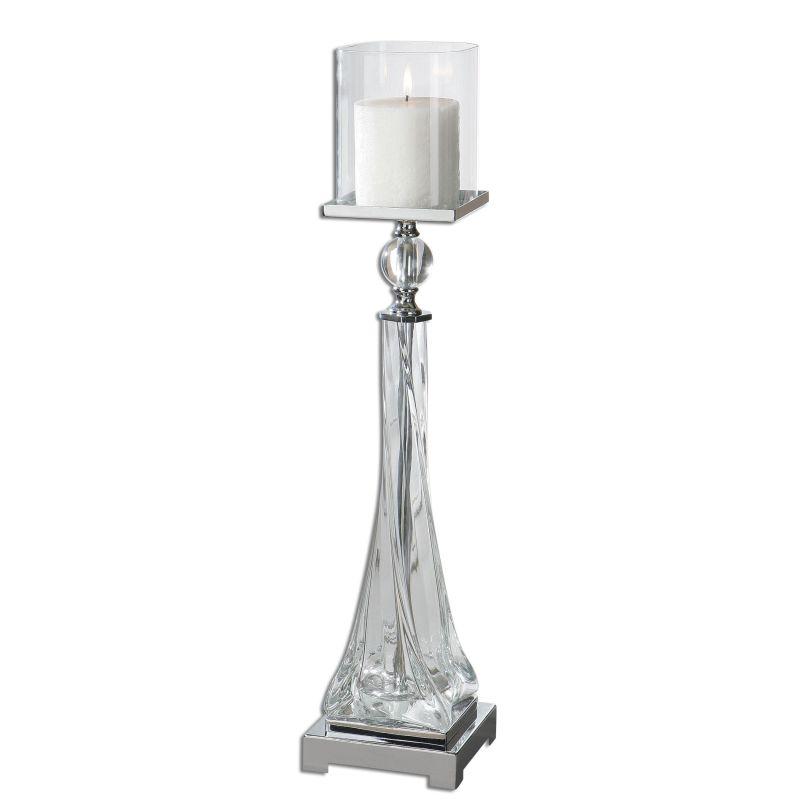 Uttermost 19852 Grancona Polished Nickel Candle Holder - White Candle