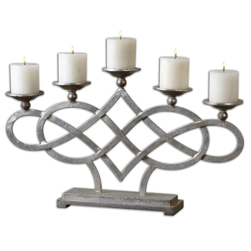 Uttermost 19856 Adala Wrapped Metal Candleholder Bright Silver Home