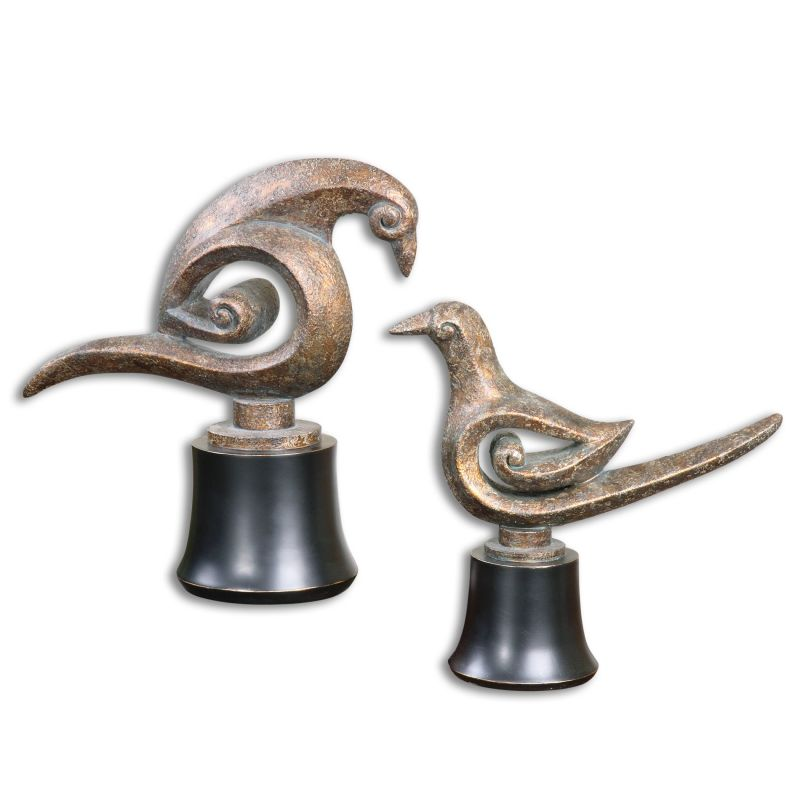 Uttermost 19876 Aram Metal Bird Sculptures Set of Two Distressed Rust
