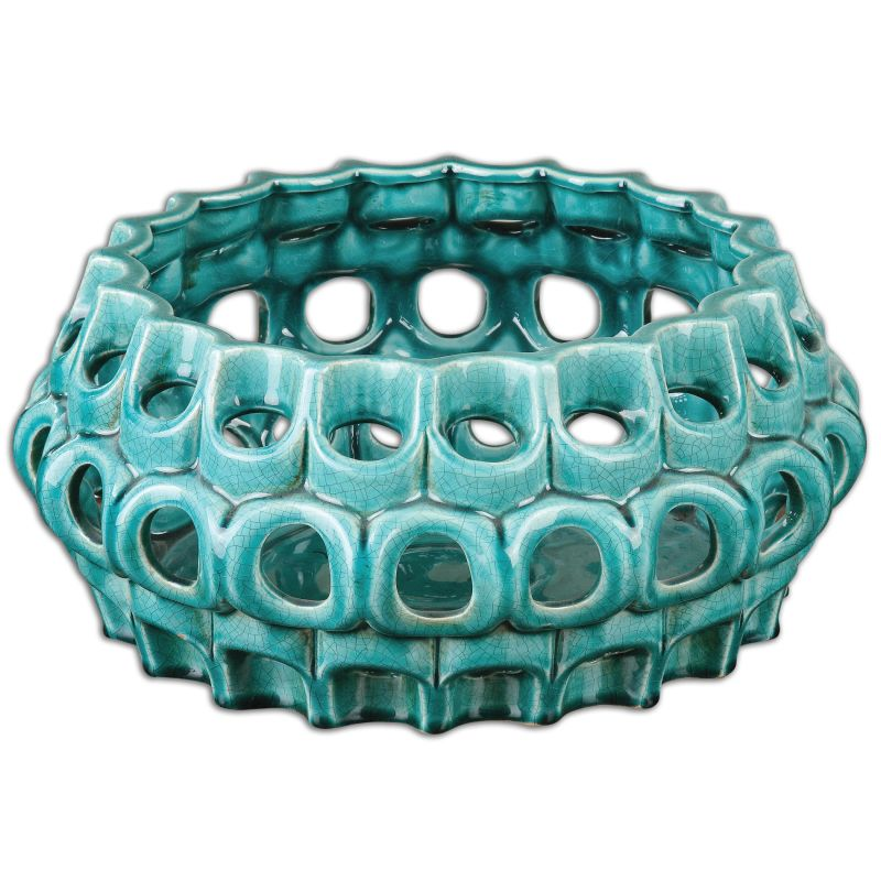 Uttermost 19890 Idola Ornate Ceramic Bowl Cracked Teal Blue Home Decor