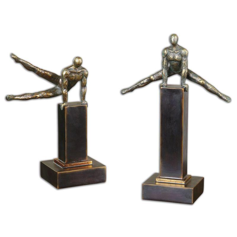 Uttermost 19897 Pommel Metal Sculptures Set of Two Distressed Silver