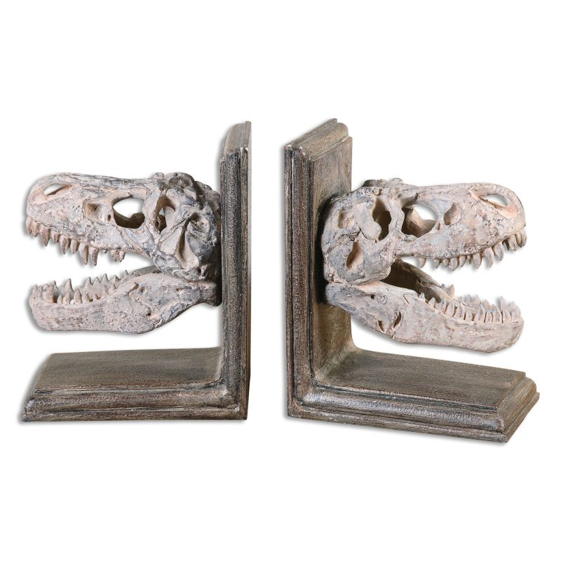 Uttermost 19924 Dinosaur Bookends - 2 Piece Set Dark Mahogany Brown