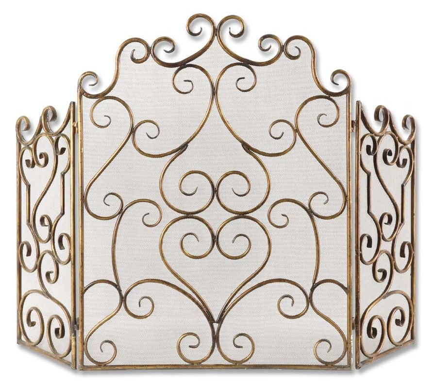 Uttermost 20467 Kora Metal Fireplace Screen with Swirl Detail