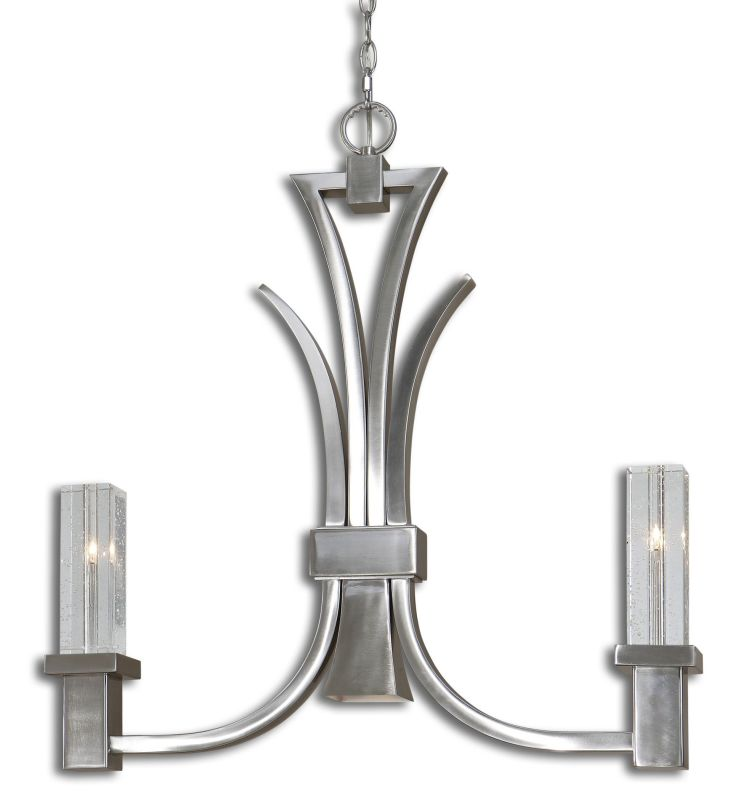 Uttermost 21249 Glacio 3 Light 1 Tier Linear Chandelier with Center