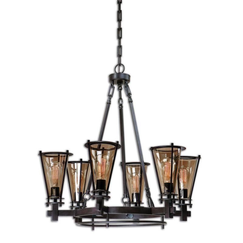 Uttermost 21263 Frisco 6 Light Pendant Rustic Black Indoor Lighting