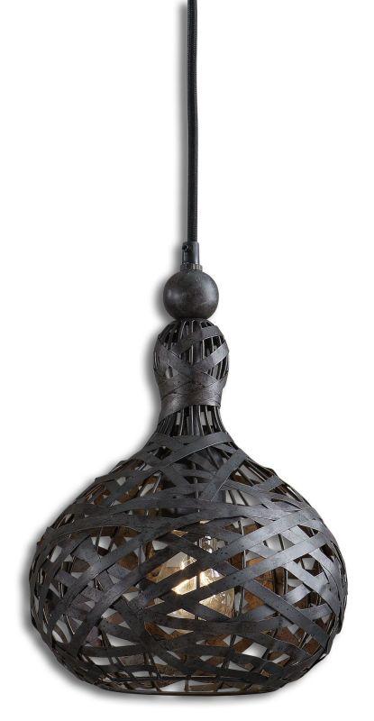 Uttermost 21975 Alita Industrial 1 Light Mini Pendant Rust Black