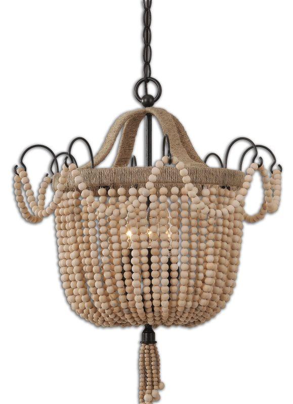 Uttermost 21992 Civenna 3 Light Pendant Wood Beads with Aged Black