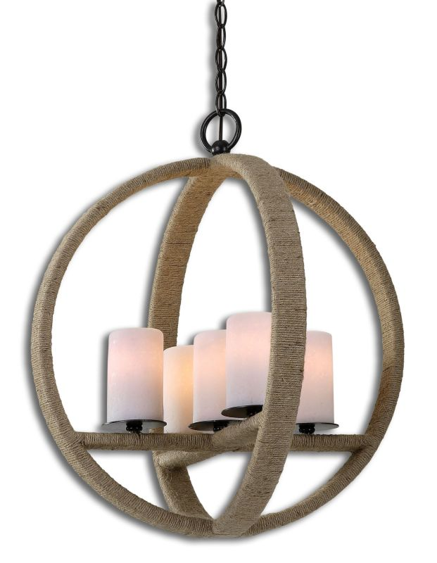 Uttermost 21997 Gironico 5 Light Round Cage Pendant - Made from Rope