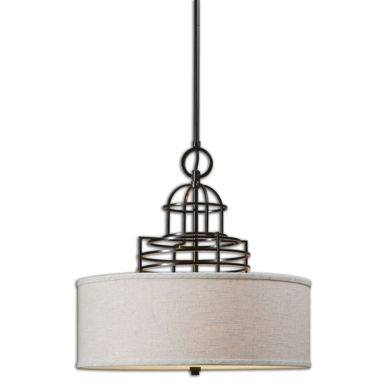 Uttermost 22021 Cupola 3 Light Drum Pendant Beige Linen with Weathered