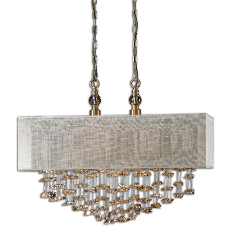 Uttermost 22033 Santina 2 Light Pendant Antiqued Brushed Brass Indoor