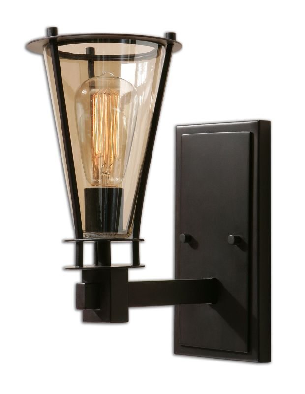 Uttermost 22492 Frisco 1 Light Wall Sconce Rustic Black with Cognac
