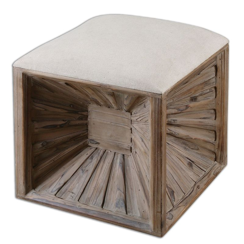 Uttermost 23131 Jia Wooden Burst Base Ottoman Neutral Linen with