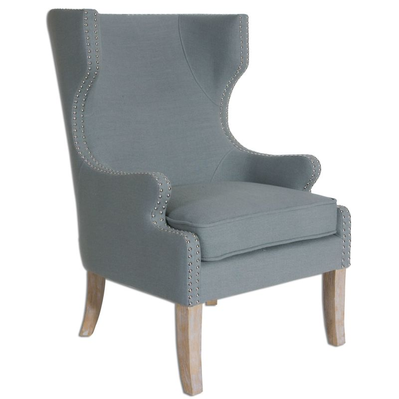 Uttermost 23136 Graycie Solid Wood Chair Oak and Linen Furniture Arm