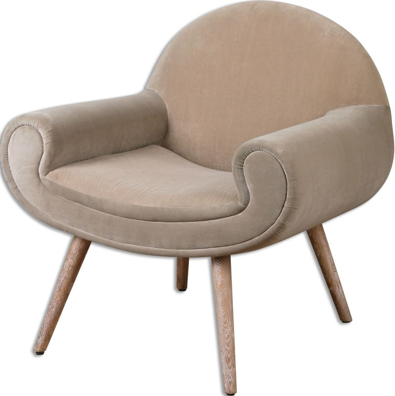 Uttermost 23197 Kavita Fabric Chair Designed by Jim Parsons Putty Hued