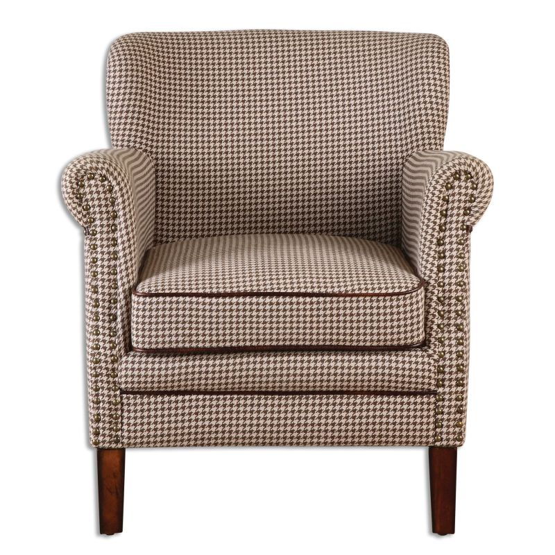 Uttermost 23205 Tinsley Fabric Chair Designed by Jim Parsons Chocolate