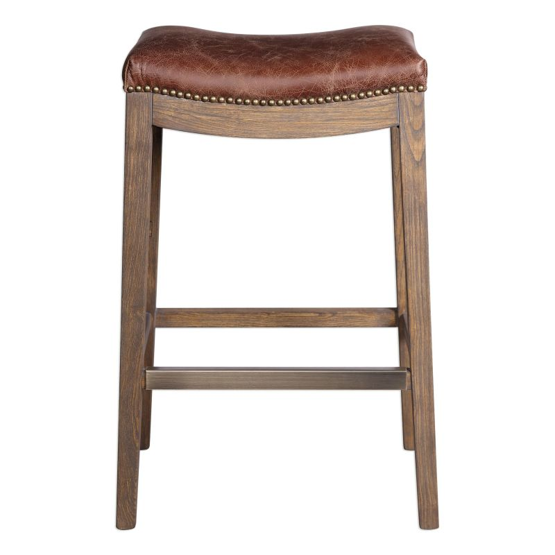 Uttermost 23329 Cochran 30 Inch Tall Leather Backless Stool Distressed