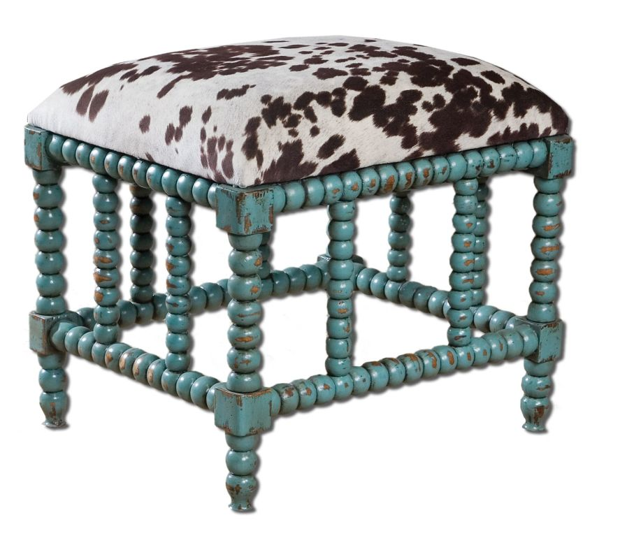 Uttermost 23605 Chahna Small Bench Aqua Blue Furniture Benches