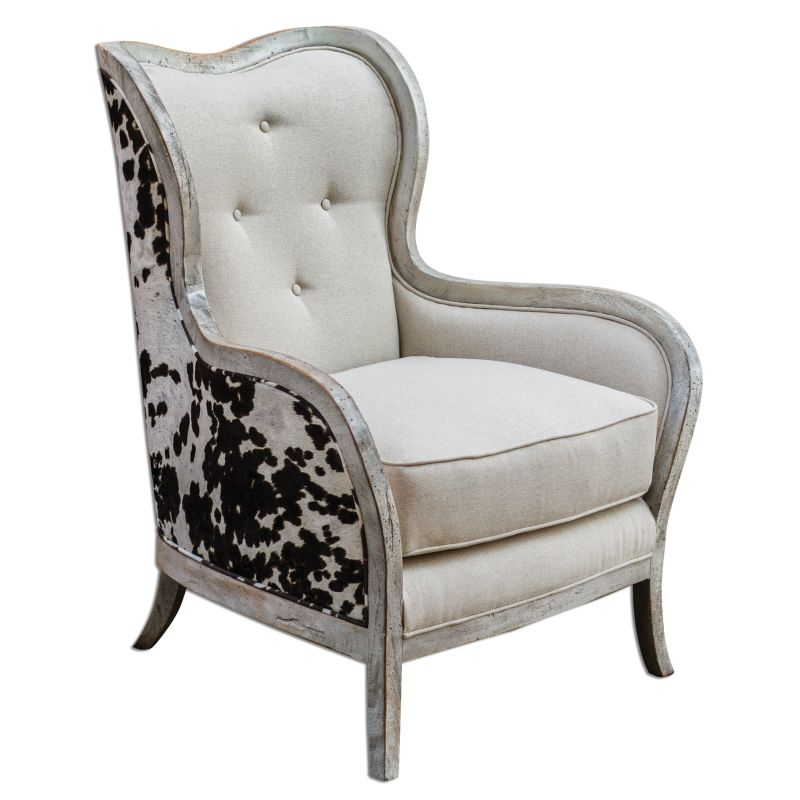Uttermost 23611 Chalina Velvet Chair Wood and Linen Furniture Arm