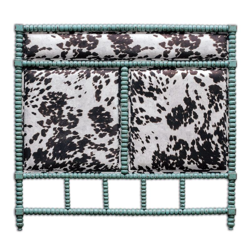 "Uttermost 23702 Chahna 57"" x 62"" Rubber Wood Headboard Aqua Blue"