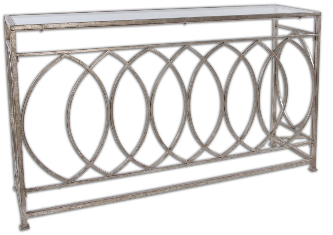 Uttermost 24306 Aniya Glass Top Console Table Antiqued Silver Leaf