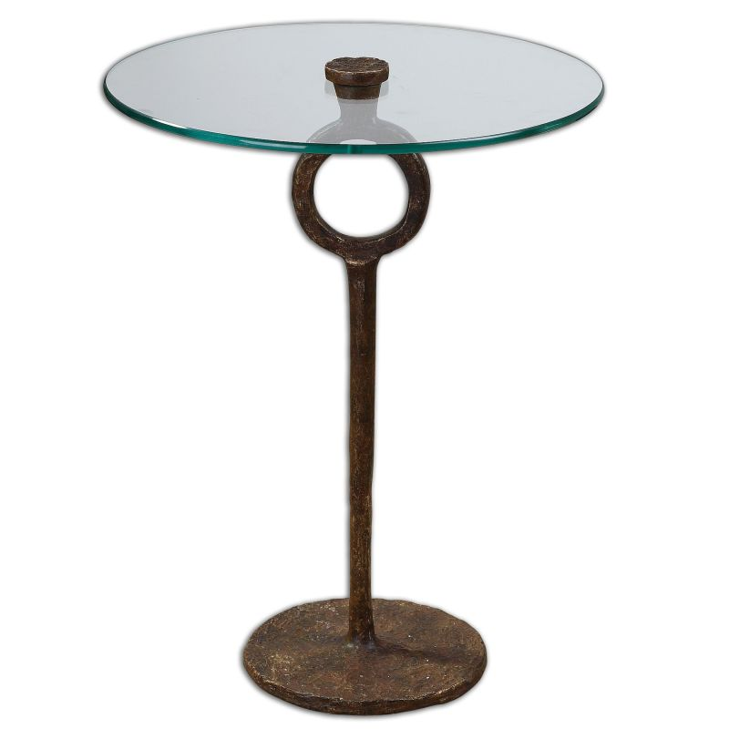 Uttermost 24336 Diogo Hand Wrought Iron Glass Accent Table Oxidized