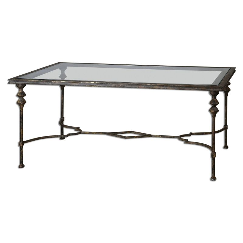 "Uttermost 24364 Quillon 51.25""W Iron Coffee Table Gold Furniture"