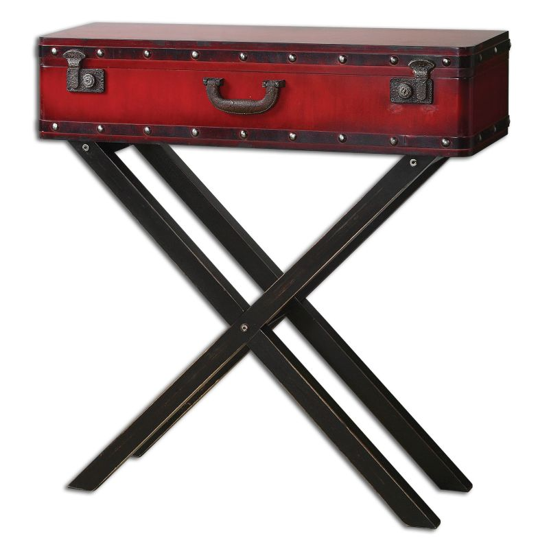 Uttermost 24379 Taggart Elevated Trunk Console Table Antiqued Red with